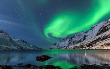 горы, природа, зима, пейзаж, сияние, северное сияние