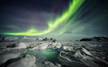 небо, природа, зима, пейзаж, сияние, северное сияние