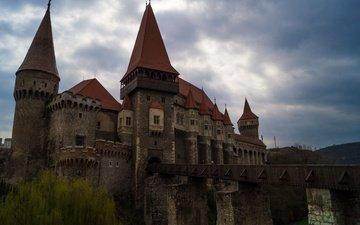 небо, пейзаж, замок, архитектура, румыния, трансильвания, хуньяди, корвин