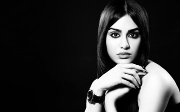 девушка, чёрно-белое, модель, актриса, знаменитость, болливуд, adah sharma, ада шарма