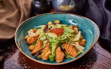 caviar, salad, salmon