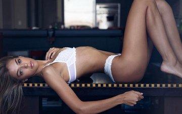 девушка, поза, грудь, ножки, волосы, фигура, тело, белье