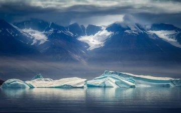 горы, снег, пейзаж, красота, льдины