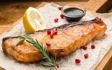 lemon, fish, sauce, garnet, salmon, rosemary