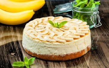 mint, cake, banana, cream