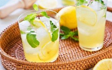 mint, lemon, lemonade