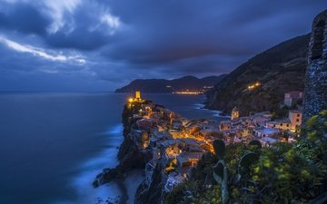 night, sea, home, italy, rock, vernazza
