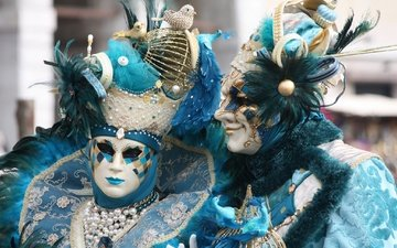 pair, costumes, mask, carnival