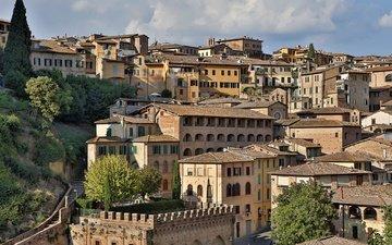 панорама, дома, италия, здания, тоскана, сиена