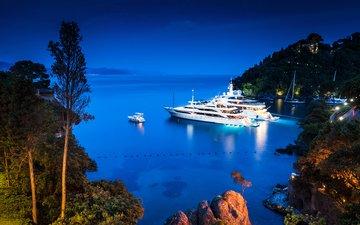 вечер, море, яхты, 6