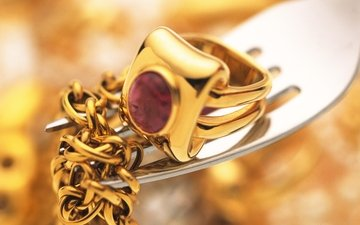 вилка, кольцо, золото, украшение, цепочка, рубин
