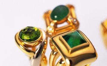 кольца, золото, украшение, изумруд, ювелирные изделия