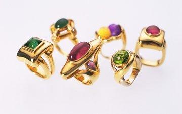 украшения, белый фон, кольца, золото, ювелирные изделия, драгоценный камень
