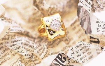 кольцо, газета, золото, ювелирные украшения
