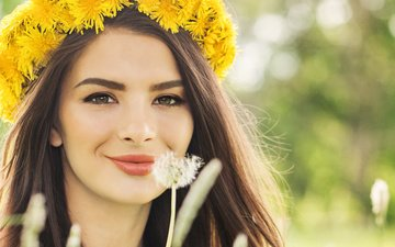 girl, mood, photo, smile, model, dandelion, makeup, wreath, brown eyes