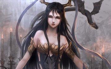 девушка, дракон, крылья, аниме, рога
