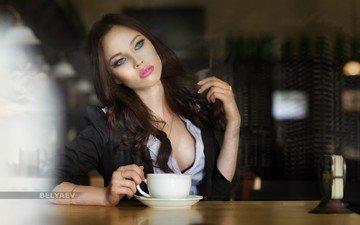 девушка, кофе, модель, чашка, позирует, дмитрий беляев, инна