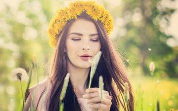 flowers, among, girl, happy