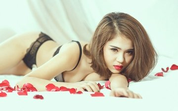 girl, pose, petals, asian, linen, haircut