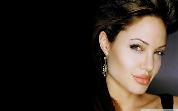 girl, brunette, look, hair, lips, face, actress, angelina jolie