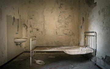комната, кровать, палата