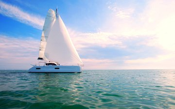 пейзаж, море, яхта