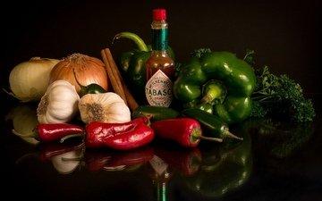 зелень, еда, перец, соус