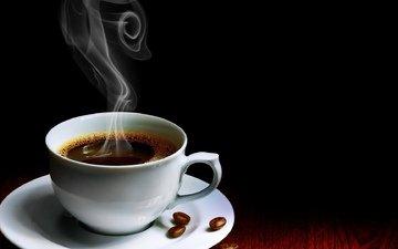 зерна, кофе, стол, чашка, пар, горячий