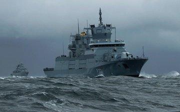 волны, боевые, море, корабли, фрегаты, бранденбург, баден
