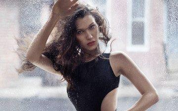girl, look, model, hair, face, black dress, elle, bella hadid, 2017