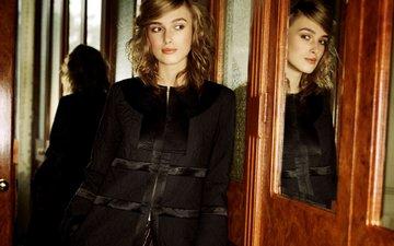 девушка, отражение, взгляд, зеркало, волосы, лицо, кира найтли, знаменитость