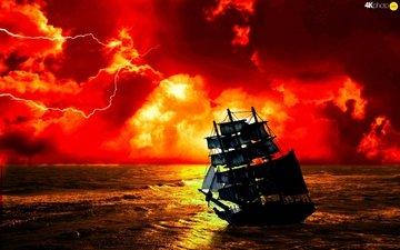 sea, ship, sailboat, storm