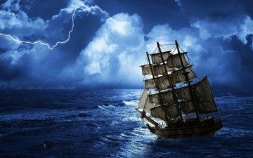 море, молния, корабль, парусник, шторм
