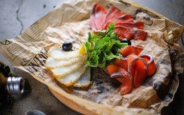 доска, еда, лимон, рыба, оливки, морепродукты, петрушка, лосось, нарезка, красная рыба