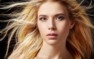 взгляд, волосы, макияж, фотосессия, блондика, протрет