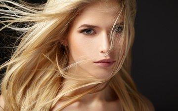 girl, blonde, portrait, look, model, hair, face