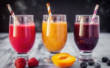 малина, фрукты, абрикос, ягоды, черника, сок, фреш