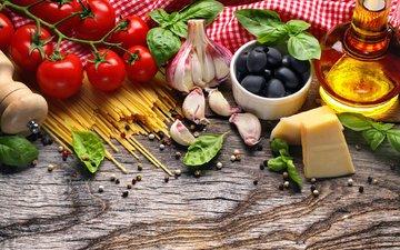 сыр, овощи, помидоры, оливки, перец, маслины, чеснок, лапша, паста