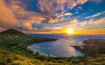 the sky, clouds, sunrise, sea, coast, bay, island, hawaii, the island of oahu, bay hanoum, oahu, shane myers