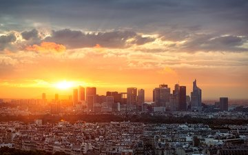 sunset, panorama, the city, paris, france