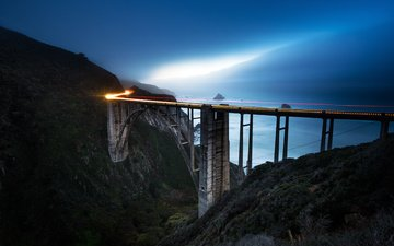 the sky, mountains, rocks, nature, shore, sea, morning, bridge, ca, bixby bridge