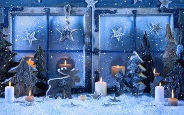 снег, свечи, олень, звезды, окно, елочки, рождество, украшение, снегопад