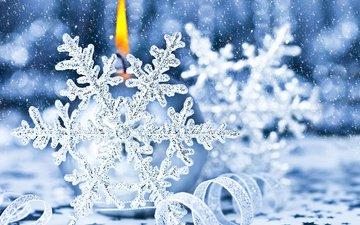 снежинки, свеча, рождество, украшение, снегопад