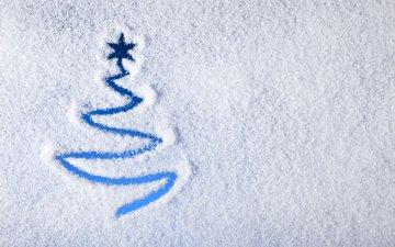 рисунок, снег, елка, фон, рождество