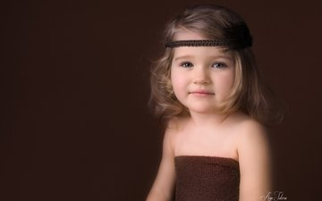 взгляд, дети, девочка, волосы, лицо, ребенок, повязка, голые плечи