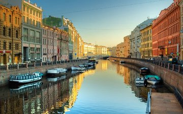 the city, boats, channel, russia, saint petersburg