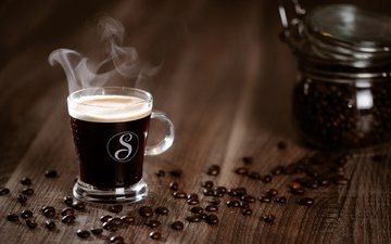 coffee, cup, coffee beans, wooden surface