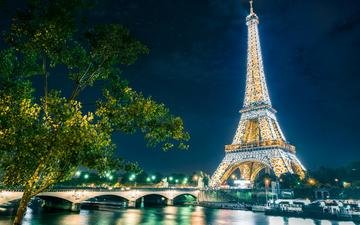 night, lights, river, reflection, bridge, the city, paris, france, eiffel tower