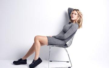 girl, dress, blonde, look, chair, hair, face, singer, ellie goulding