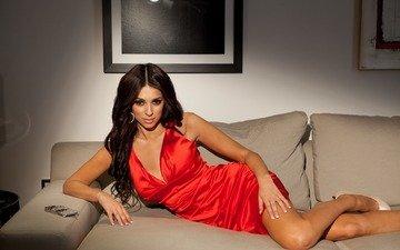girl, brunette, look, model, hair, face, sofa, red dress, georgia salpa